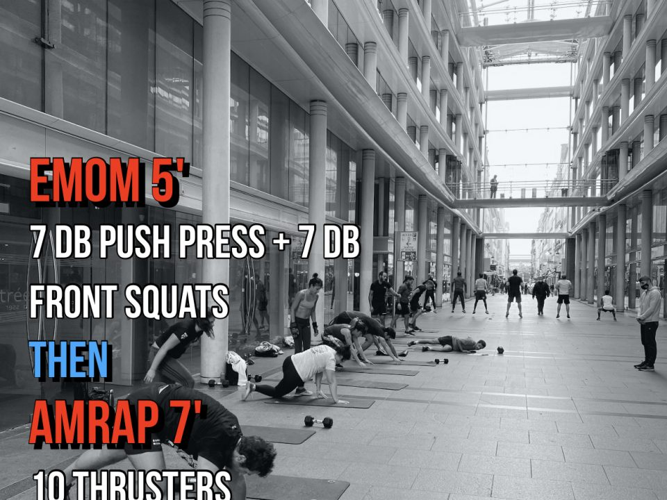 DB Push press DB Front Squat DB Thruster Double Under